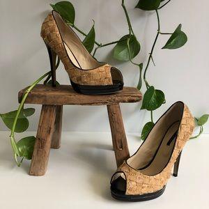 Tony Bianco NWT Pump Stilettos open toe cork weave